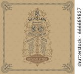 old vintage card with floral...   Shutterstock .eps vector #666689827