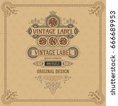 old vintage card with floral...   Shutterstock .eps vector #666689953