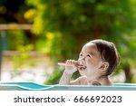 asia child girl brush their...   Shutterstock . vector #666692023