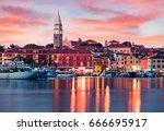 splendid sunset of old fishing...   Shutterstock . vector #666695917