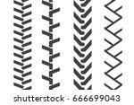 tractor tread set. vector... | Shutterstock .eps vector #666699043