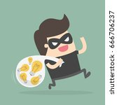 bad guy stealing ideas.... | Shutterstock .eps vector #666706237
