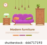 living room cozy interior with...   Shutterstock .eps vector #666717193