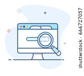 computer monitor and magnifier ... | Shutterstock .eps vector #666727057