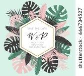 summer banner with paper... | Shutterstock .eps vector #666734527