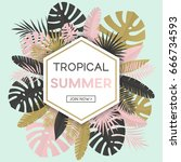 summer banner with paper... | Shutterstock .eps vector #666734593