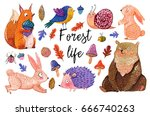 watercolor set of forest... | Shutterstock . vector #666740263