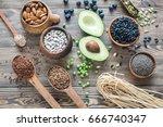 food sources of fiber | Shutterstock . vector #666740347
