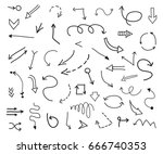 hand drawn arrows.doodle arrows ... | Shutterstock .eps vector #666740353