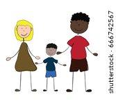 mixed happy family | Shutterstock .eps vector #666742567