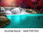 huay mae kamin waterfall ... | Shutterstock . vector #666744763