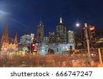 melbourne skyscrapers downtown... | Shutterstock . vector #666747247