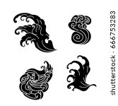 japanese wave tattoo design... | Shutterstock .eps vector #666753283