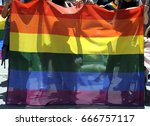 protesters march with large gay ... | Shutterstock . vector #666757117