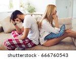 unhappy couple having crisis... | Shutterstock . vector #666760543
