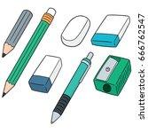 vector set of pencil  eraser... | Shutterstock .eps vector #666762547