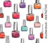 nail polish bottle pattern.... | Shutterstock .eps vector #666762763