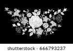 floral monochrome white rose... | Shutterstock .eps vector #666793237
