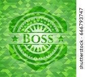 boss green mosaic emblem | Shutterstock .eps vector #666793747
