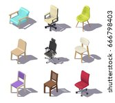 isometric office chairs on... | Shutterstock .eps vector #666798403