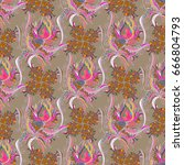 seamless floral pattern. vector ... | Shutterstock .eps vector #666804793
