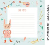 template for notes with a nice... | Shutterstock .eps vector #666805333