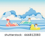 family floating on the beach... | Shutterstock .eps vector #666812083