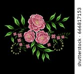 pink flowers embroidery for... | Shutterstock .eps vector #666817153