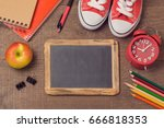 back to school background with... | Shutterstock . vector #666818353