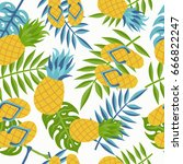 pineapple seamless pattern with ... | Shutterstock .eps vector #666822247