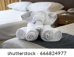 towels on bed. spa towels... | Shutterstock . vector #666824977