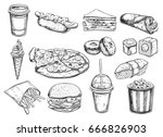 fastfood dishes with drinks .... | Shutterstock .eps vector #666826903