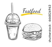 fastfood concept. cola and... | Shutterstock .eps vector #666826963