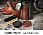 cleaning kit for boots and... | Shutterstock . vector #666830953
