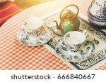 tea set decoration  chinese tea ... | Shutterstock . vector #666840667
