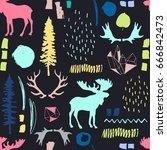 forest seamless pattern. wild... | Shutterstock .eps vector #666842473