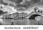 panoramic view of rialto bridge ... | Shutterstock . vector #666858667