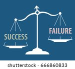 scales measuring words success... | Shutterstock .eps vector #666860833