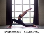 beautiful yoga woman practice... | Shutterstock . vector #666868957