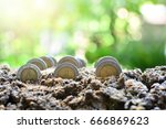 plant coins growth up to profit ...   Shutterstock . vector #666869623