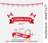 happy canada day vector... | Shutterstock .eps vector #666871177