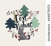 """love nature"" composition | Shutterstock .eps vector #666875023"