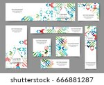 set of web banner templates for ... | Shutterstock .eps vector #666881287