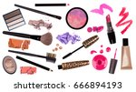 makeup brush and cosmetics  on... | Shutterstock . vector #666894193