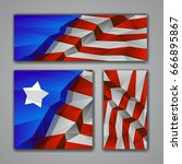 polygonal usa flag banners set. ... | Shutterstock .eps vector #666895867