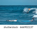 surfers waiting for a wave ... | Shutterstock . vector #666902137