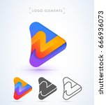 play and arrow sign logo... | Shutterstock .eps vector #666936073