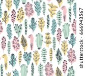 seamless floral pattern  doodle ... | Shutterstock . vector #666943567