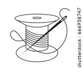 needle icon.needle with thread... | Shutterstock .eps vector #666958747