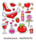 set of cute cartoon patches ... | Shutterstock .eps vector #666960193